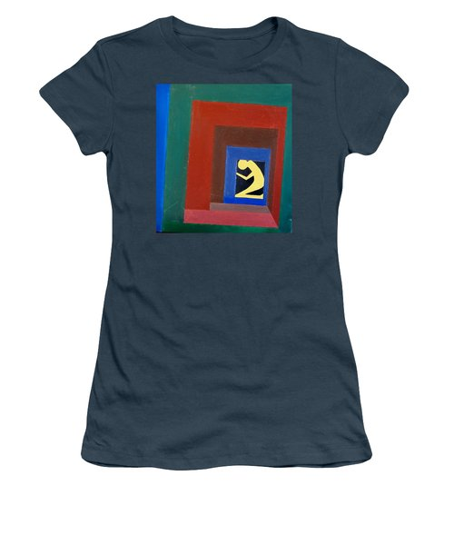 Women's T-Shirt (Junior Cut) featuring the painting Man In A Box by Lenore Senior