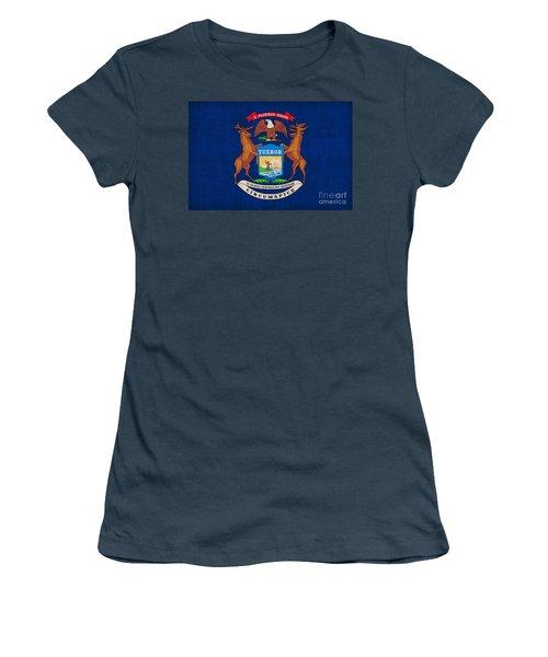 Michigan State Flag Women's T-Shirt (Junior Cut) by Pixel Chimp
