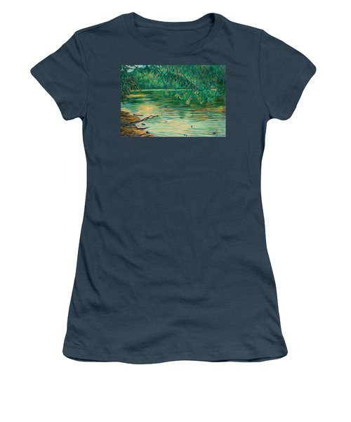 Women's T-Shirt (Junior Cut) featuring the painting Mid-spring On The New River by Kendall Kessler