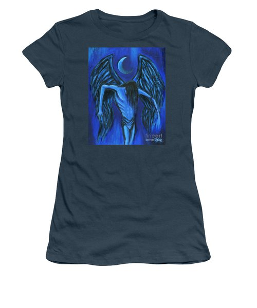 Women's T-Shirt (Junior Cut) featuring the painting Midnight by Roz Abellera Art