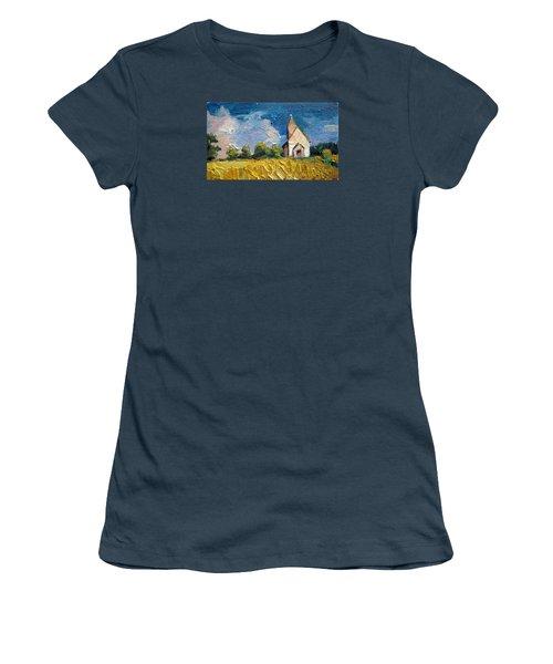 Women's T-Shirt (Junior Cut) featuring the painting Mini Church by Jieming Wang