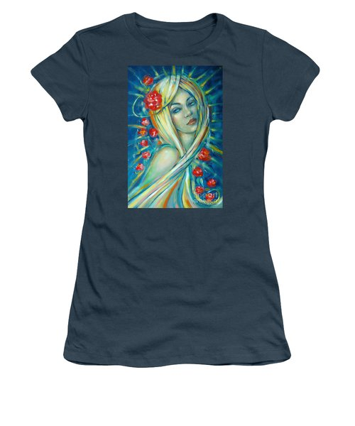 Women's T-Shirt (Junior Cut) featuring the painting Moonlight Flowers 030311 by Selena Boron