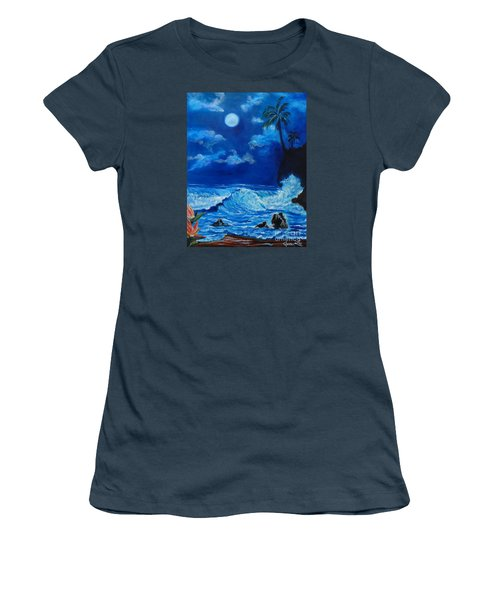 Moonlit Hawaiian Night Women's T-Shirt (Junior Cut) by Jenny Lee