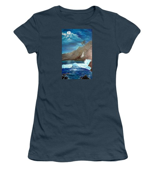 Women's T-Shirt (Junior Cut) featuring the painting Moonlit Wave by Jenny Lee