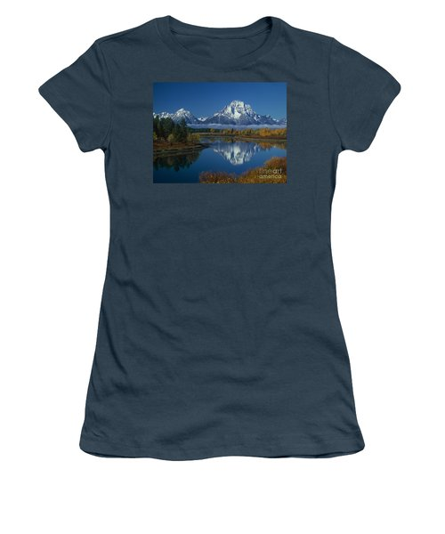 Morning Cloud Layer Oxbow Bend In Fall Grand Tetons National Park Wyoming Women's T-Shirt (Junior Cut) by Dave Welling