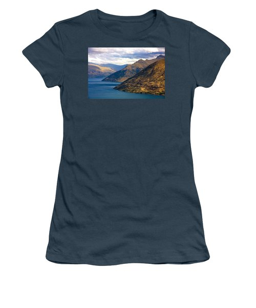 Mountains Meet Lake Women's T-Shirt (Junior Cut) by Stuart Litoff