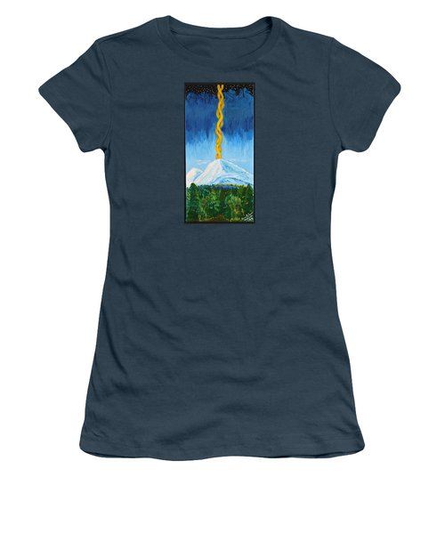 Women's T-Shirt (Junior Cut) featuring the painting Mt. Shasta by Cassie Sears