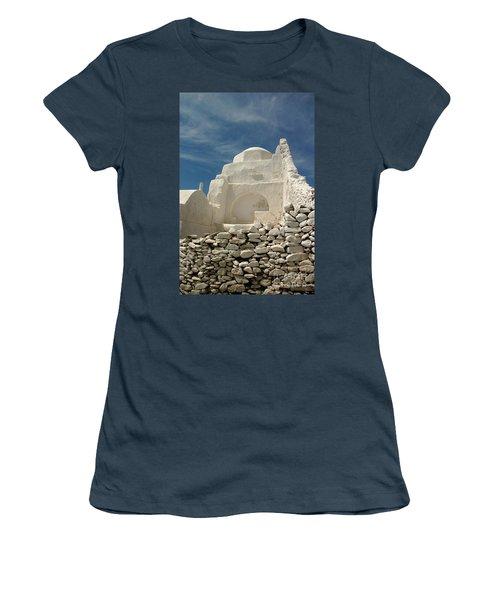 Women's T-Shirt (Junior Cut) featuring the photograph Mykonos Church by Vivian Christopher
