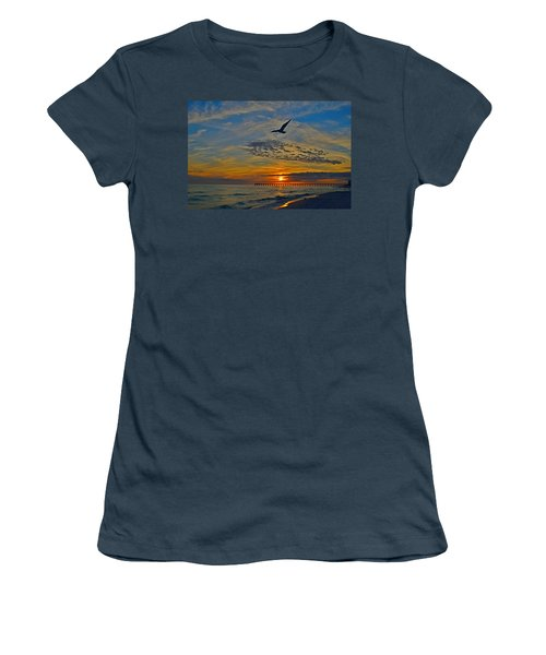 Women's T-Shirt (Junior Cut) featuring the photograph Navarre Beach And Pier Sunset Colors With Gulls And Waves by Jeff at JSJ Photography