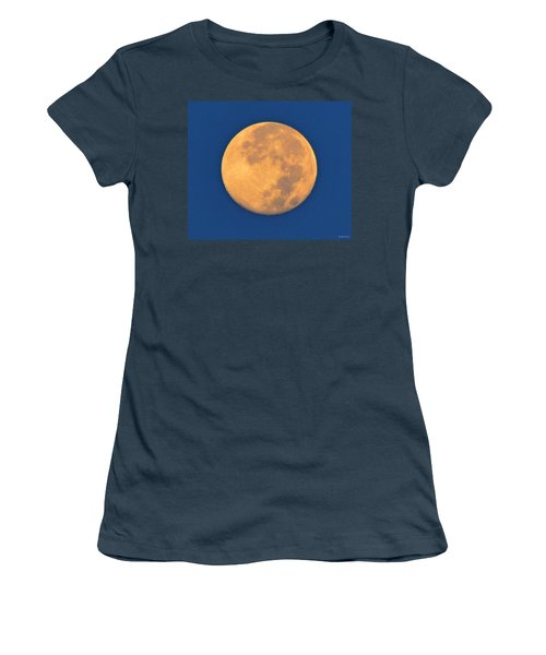 Women's T-Shirt (Junior Cut) featuring the photograph Navarre Beach Full Moon At Sunrise by Jeff at JSJ Photography