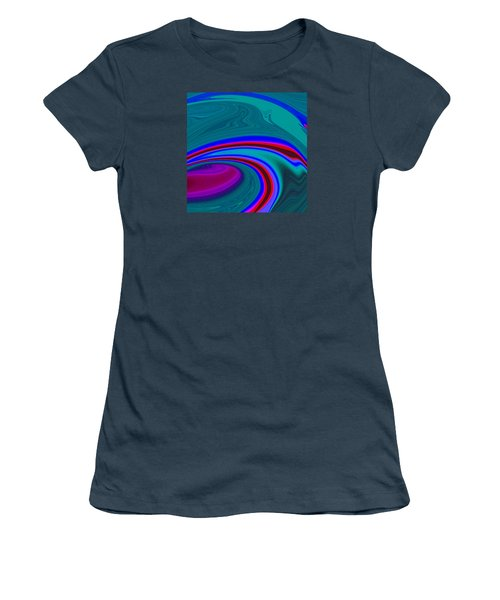 Women's T-Shirt (Junior Cut) featuring the painting Neon Wave C2014 by Paul Ashby