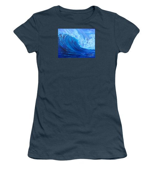 Women's T-Shirt (Junior Cut) featuring the painting Wave V1 by Jenny Lee