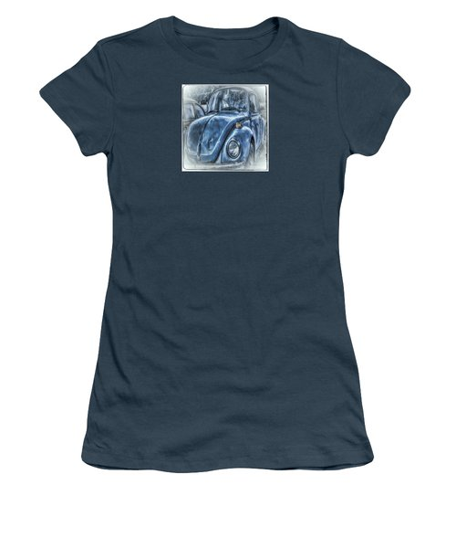Old Blue Bug Women's T-Shirt (Junior Cut) by Jean OKeeffe Macro Abundance Art