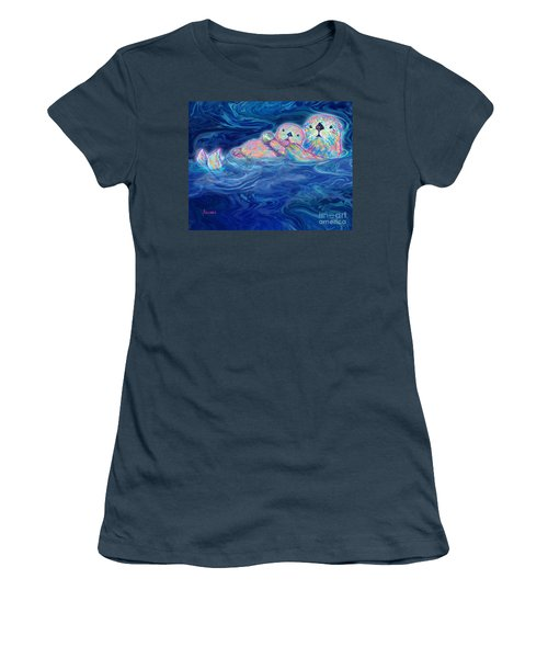 Women's T-Shirt (Junior Cut) featuring the mixed media Otter Family by Teresa Ascone