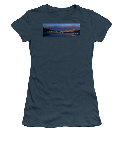 Women's T-Shirt (Junior Cut) featuring the photograph Panorama Clearing Storm Oxbow Bend Grand Tetons National Park Wyoming by Dave Welling