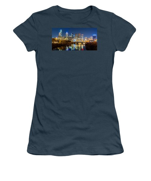Philadelphia Cityscape Panorama By Night Women's T-Shirt (Junior Cut) by Mihai Andritoiu