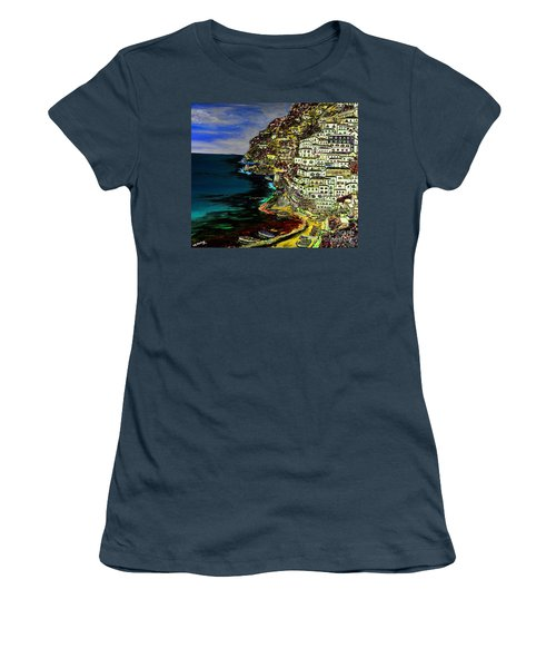 Positano At Night Women's T-Shirt (Junior Cut) by Loredana Messina
