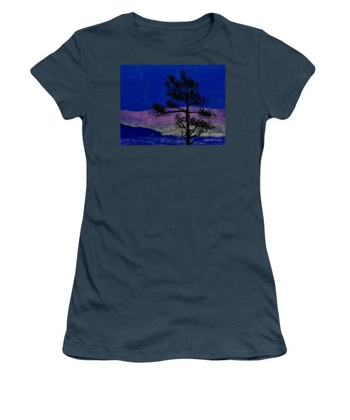 Women's T-Shirt (Junior Cut) featuring the drawing Purple Sunset Bay by D Hackett