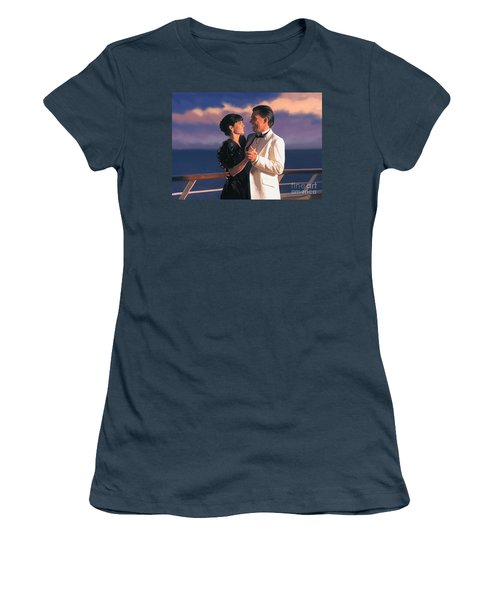 Women's T-Shirt (Junior Cut) featuring the painting Romantic Cruise by Tim Gilliland