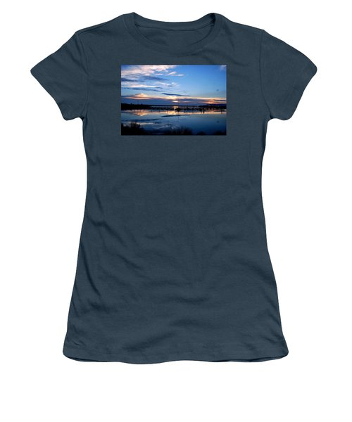 Women's T-Shirt (Junior Cut) featuring the photograph Salt Lake Marina Sunset by Matt Harang