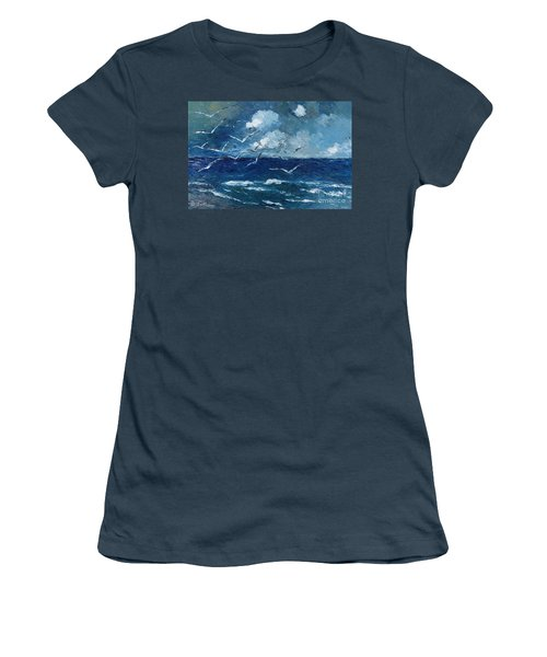 Women's T-Shirt (Junior Cut) featuring the painting Seagulls Over Adriatic Sea by AmaS Art