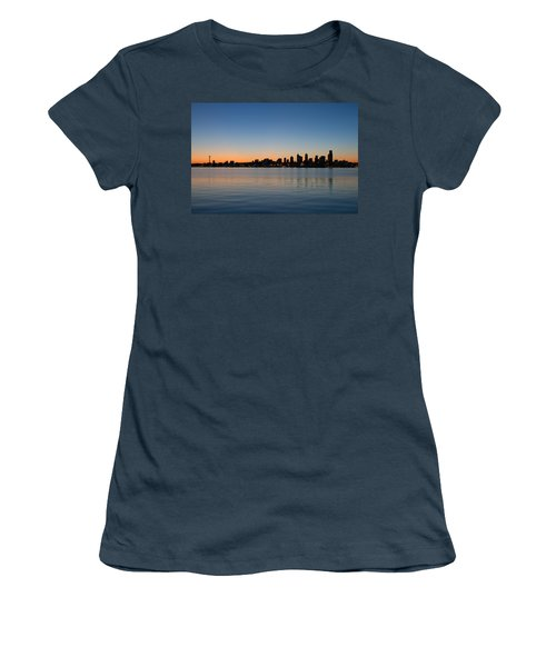 Women's T-Shirt (Junior Cut) featuring the photograph Seattle Washington Waterfront Skyline At Sunrise Panorama by JPLDesigns