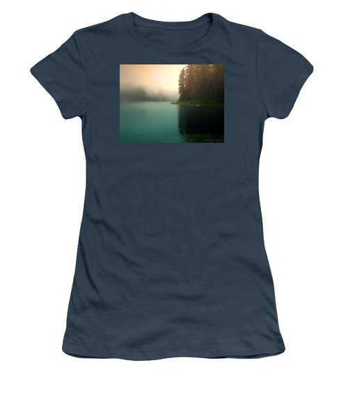 Serenity On Blue Lake Foggy Afternoon Women's T-Shirt (Junior Cut) by Joyce Dickens