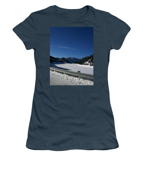 Women's T-Shirt (Junior Cut) featuring the photograph Snow Lake by Jewel Hengen