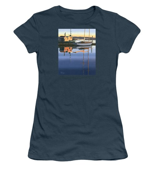 Women's T-Shirt (Junior Cut) featuring the painting South Harbour Reflections by Gary Giacomelli