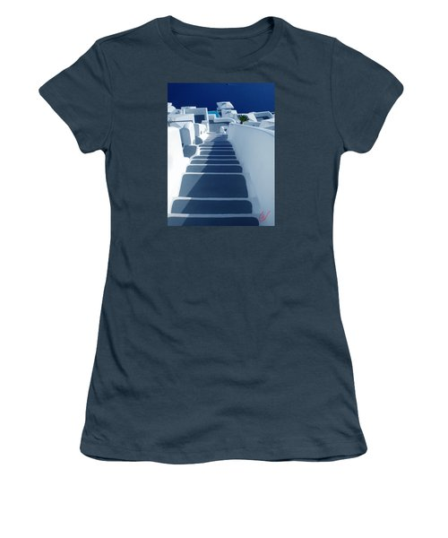 Stairs Down To Ocean Santorini Women's T-Shirt (Junior Cut) by Colette V Hera  Guggenheim