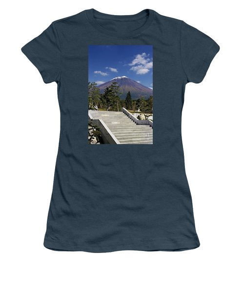 Women's T-Shirt (Junior Cut) featuring the photograph Stairway To Mt Fuji by Ellen Cotton
