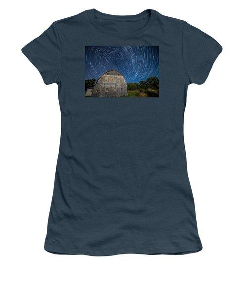 Star Trails Over Barn Women's T-Shirt (Junior Cut) by Paul Freidlund