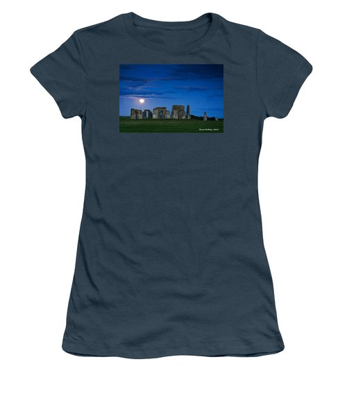 Women's T-Shirt (Junior Cut) featuring the painting Stonehenge At Night by Bruce Nutting