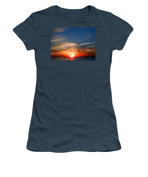 Women's T-Shirt (Junior Cut) featuring the photograph Sunset On The Gulf Of Mexico by Debra Martz