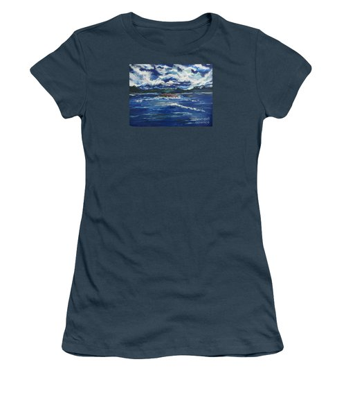 Women's T-Shirt (Junior Cut) featuring the painting The Enchanting Sea  by Lori  Lovetere