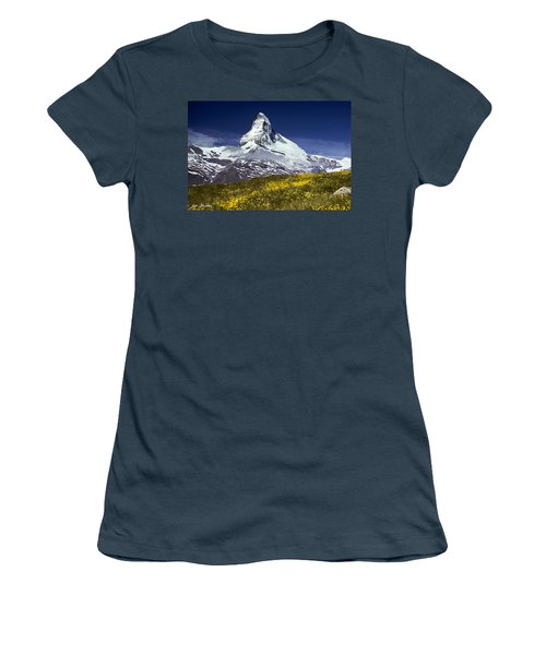The Matterhorn With Alpine Meadow In Foreground Women's T-Shirt (Junior Cut) by Jeff Goulden