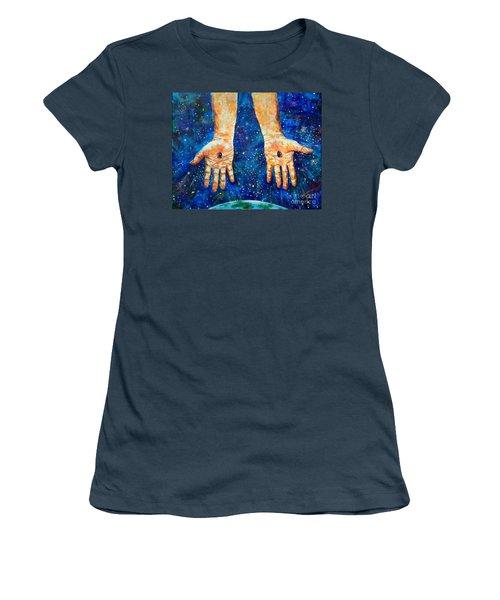 The Whole World In His Hands Women's T-Shirt (Junior Cut) by Lou Ann Bagnall