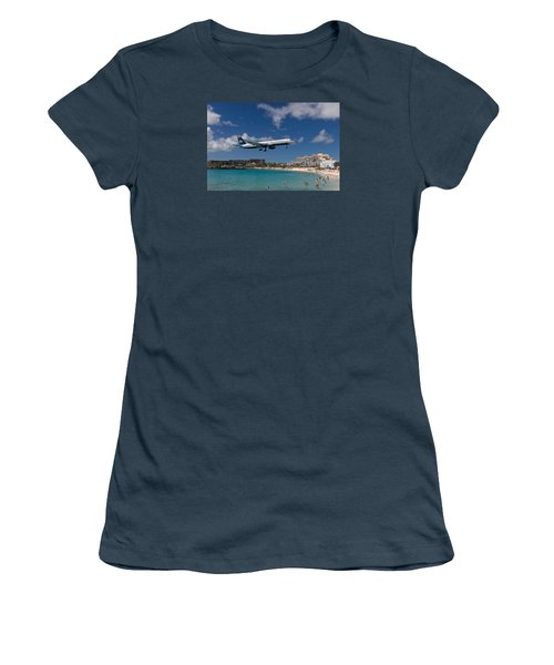 U S Airways Low Approach To St. Maarten Women's T-Shirt (Junior Cut) by David Gleeson