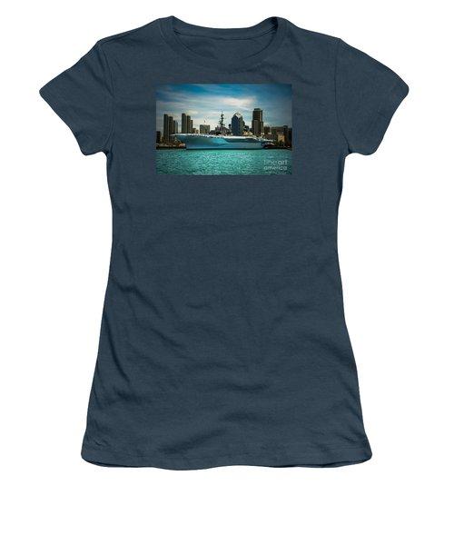 Uss Midway Museum Cv 41 Aircraft Carrier Women's T-Shirt (Junior Cut) by Claudia Ellis