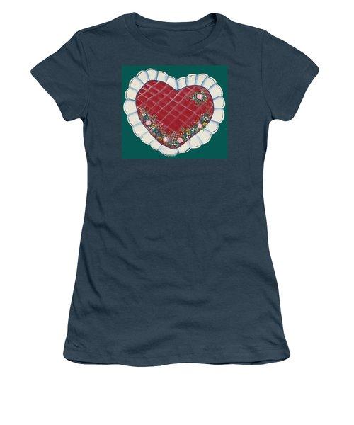 Valentine Heart Women's T-Shirt (Junior Cut) by Barbara McDevitt