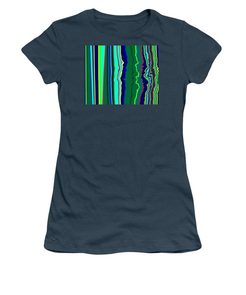 Women's T-Shirt (Junior Cut) featuring the painting Vibrato Stripes  C2014  by Paul Ashby