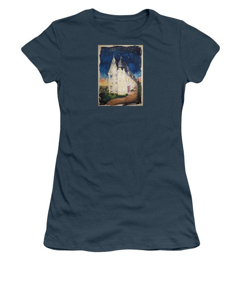 The Victorian Apartment Building By Rjfxx. Original Watercolor Painting. Women's T-Shirt (Junior Cut) by RjFxx at beautifullart com