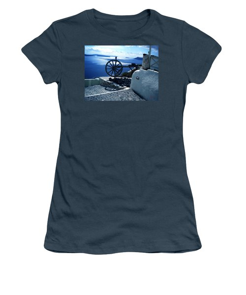 Women's T-Shirt (Junior Cut) featuring the photograph View From Santorini Island Greece by Colette V Hera  Guggenheim