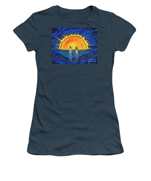 Women's T-Shirt (Junior Cut) featuring the painting Waiting For The Sun by Roz Abellera Art
