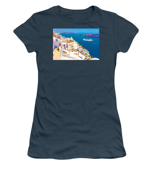 White Houses Of Santorini Women's T-Shirt (Junior Cut) by Lanjee Chee