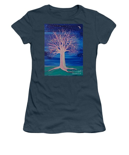 Women's T-Shirt (Junior Cut) featuring the painting Winter Fantasy Tree by First Star Art