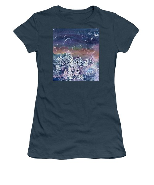 Women's T-Shirt (Junior Cut) featuring the painting Winter Solstice  by Kathy Bassett