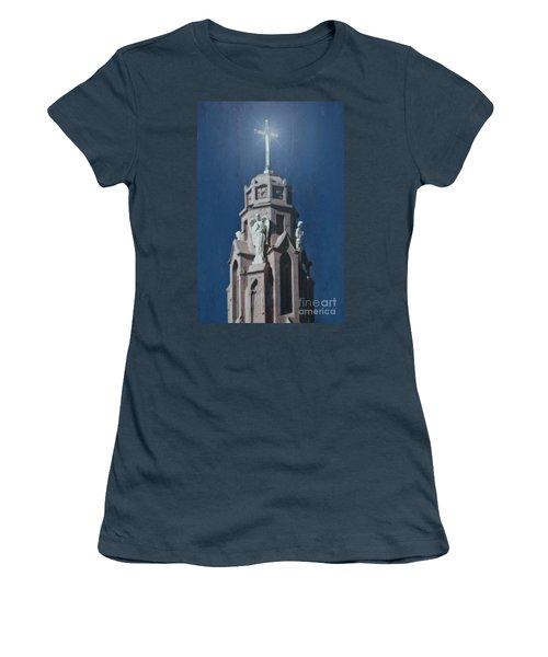 A Church Tower Women's T-Shirt (Junior Cut) by Donna Greene