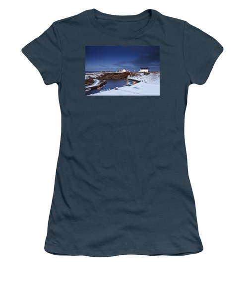 Women's T-Shirt (Junior Cut) featuring the photograph A Village On The Coast Seaton Sluice by John Short