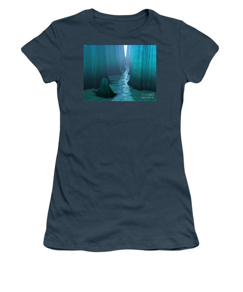 Women's T-Shirt (Junior Cut) featuring the digital art Blue Canyon River by Phil Perkins